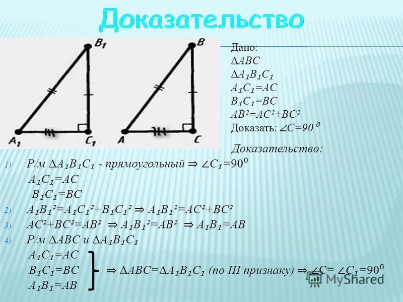 Дано: ΔABC A C =AC B C =BC AB²=AC²+BC² Доказать: С=90 Доказательство: 1) Р/м ΔA B C - прямоугольный C =90 A C =AC B C =BC 2) A B ²=A C ²+B C ² A B ²=AC²+BC² 3) AC²+BC²=AB² A B ²=AB² A B =AB 4) Р/м ΔABC и ΔA B C A C =AC B C =BC ΔABC=ΔA B C (по ІІІ при