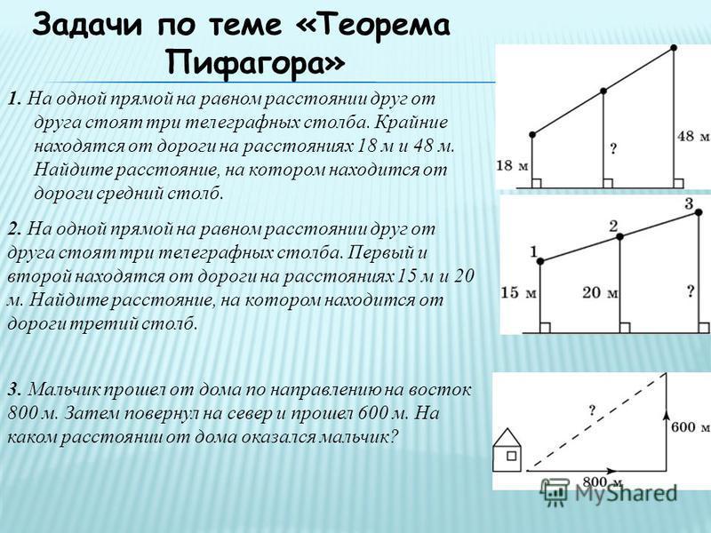 Задачи по теме «Теорема Пифагора» 1. На одной прямой на равном расстоянии друг от друга стоят три телеграфных столба. Крайние находятся от дороги на расстояниях 18 м и 48 м. Найдите расстояние, на котором находится от дороги средний столб. 2. На одно