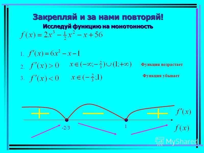 Закрепляй и за нами повторяй! Исследуй функцию на монотонность 1. 2. 3. -2/3 1 Функция возрастает Функция убывает