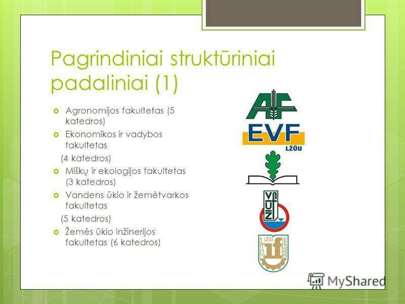 Pagrindiniai struktūriniai padaliniai (1) Agronomijos fakultetas (5 katedros) Ekonomikos ir vadybos fakultetas (4 katedros) Miškų ir ekologijos fakultetas (3 katedros) Vandens ūkio ir žemėtvarkos fakultetas (5 katedros) Žemės ūkio inžinerijos fakulte