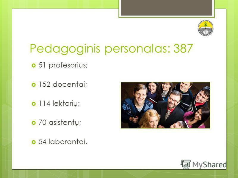 Pedagoginis personalas: 387 51 profesorius; 152 docentai; 114 lektorių; 70 asistentų; 54 laborantai.
