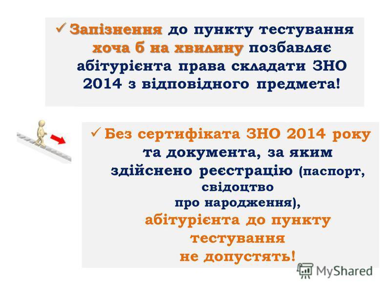 Запізнення хоча б на хвилину Запізнення до пункту тестування хоча б на хвилину позбавляє абітурієнта права складати ЗНО 2014 з відповідного предмета! Без сертифіката ЗНО 2014 року та документа, за яким здійснено реєстрацію (паспорт, свідоцтво про нар
