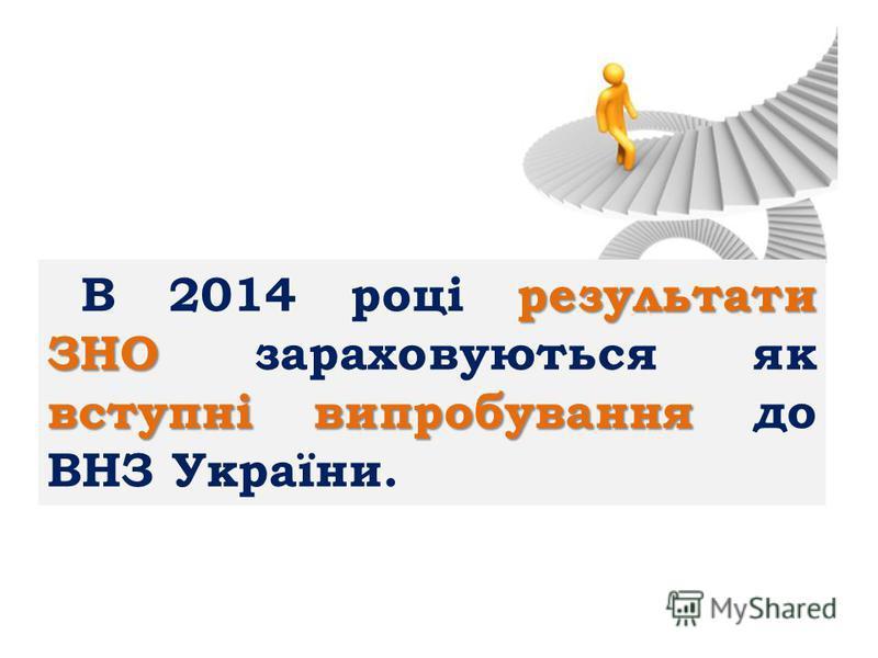 результати ЗНО вступні випробування В 2014 році результати ЗНО зараховуються як вступні випробування до ВНЗ України.