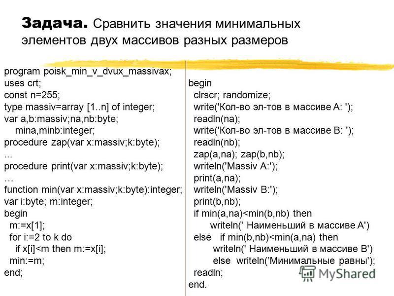 Задача. Сравнить значения минимальных элементов двух массивов разных размеров program poisk_min_v_dvux_massivax; uses crt; const n=255; type massiv=array [1..n] of integer; var a,b:massiv;na,nb:byte; mina,minb:integer; procedure zap(var x:massiv;k:by
