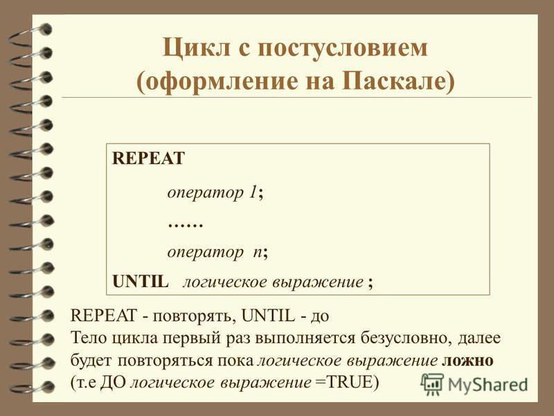 Цикл с постусловием (оформление на Паскале) REPEAT оператор 1; …… оператор n; UNTIL логическое выражение ; REPEAT - повторять, UNTIL - до Тело цикла первый раз выполняется безусловно, далее будет повторяться пока логическое выражение ложно (т.е ДО ло