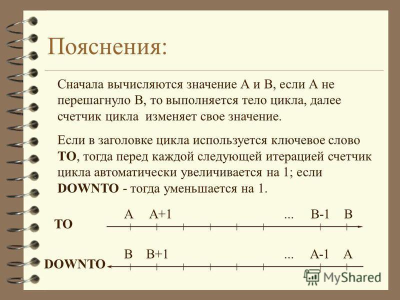 Пояснения: Сначала вычисляются значение А и В, если А не перешагнуло В, то выполняется тело цикла, далее счетчик цикла изменяет свое значение. Если в заголовке цикла используется ключевое слово ТО, тогда перед каждой следующей итерацией счетчик цикла