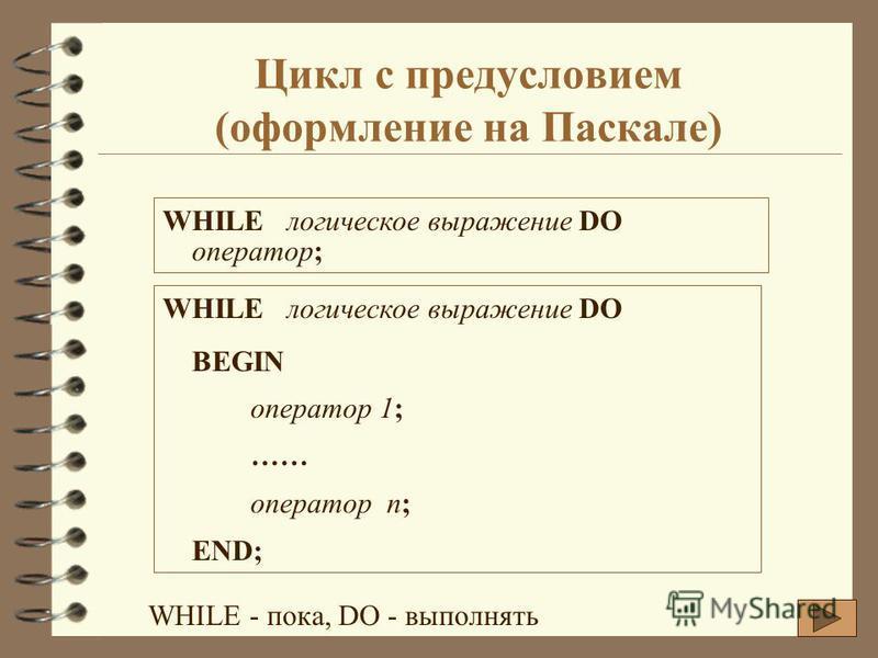 Цикл с предусловием (оформление на Паскале) WHILE логическое выражение DO оператор; WHILE логическое выражение DO BEGIN оператор 1; …… оператор n; END; WHILE - пока, DO - выполнять