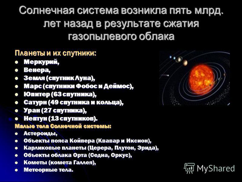 Солнечная система возникла пять млрд. лет назад в результате сжатия газопылевого облака Планеты и их спутники: Меркурий, Венера, Земля (спутник Луна), Марс (спутники Фобос и Деймос), Юпитер (63 спутника), Сатурн (49 спутника и кольца), Уран (27 спутн