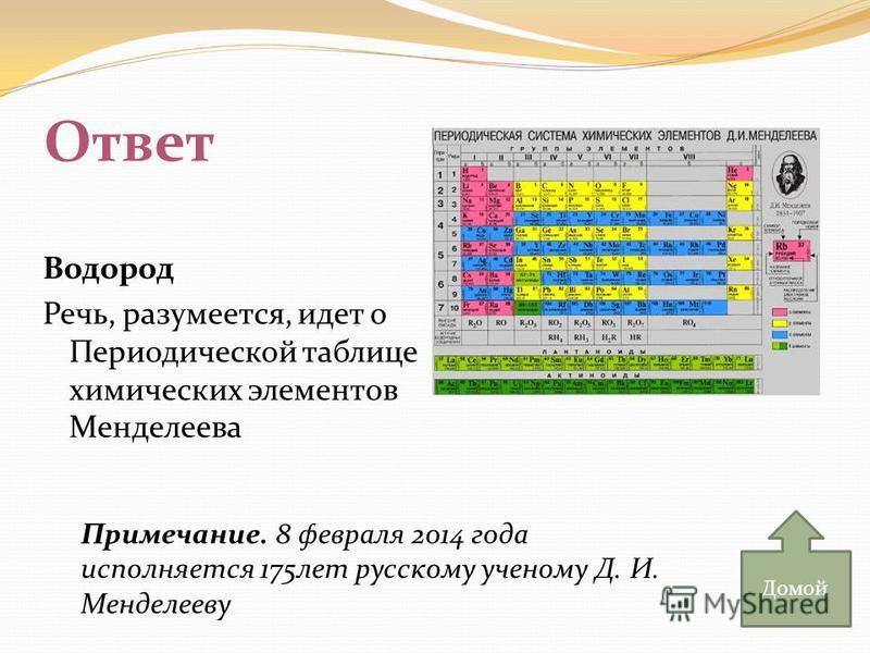 Ответ Водород Речь, разумеется, идет о Периодической таблице химических элементов Менделеева Домой Примечание. 8 февраля 2014 года исполняется 175 лет русскому ученому Д. И. Менделееву