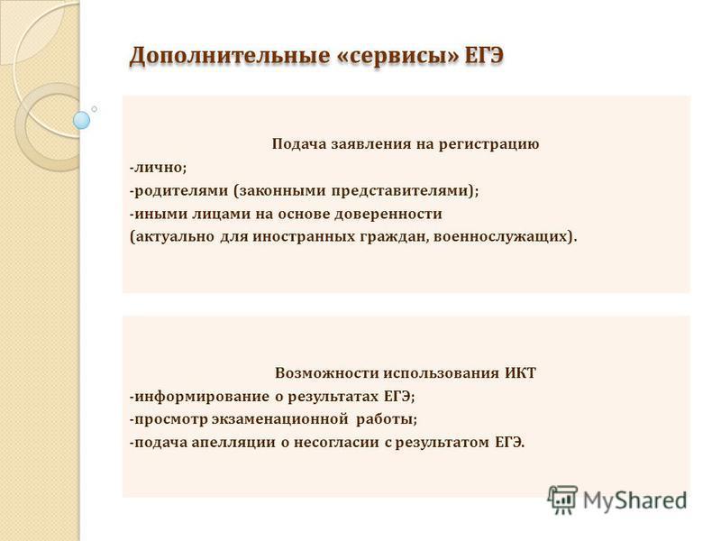 Дополнительные «сервисы» ЕГЭ Подача заявления на регистрацию -лично; -родителями (законными представителями); -иными лицами на основе доверенности (актуально для иностранных граждан, военнослужащих). Возможности использования ИКТ -информирование о ре