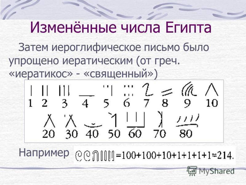 Изменённые числа Египта Затем иероглифическое письмо было упрощено иератическим (от греч. «иератикос» - «священный») Например
