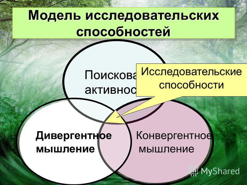Поисковая активность Модель исследовательских способностей Поисковая активность Конвергентное мышление Дивергентное мышление Исследовательские способности