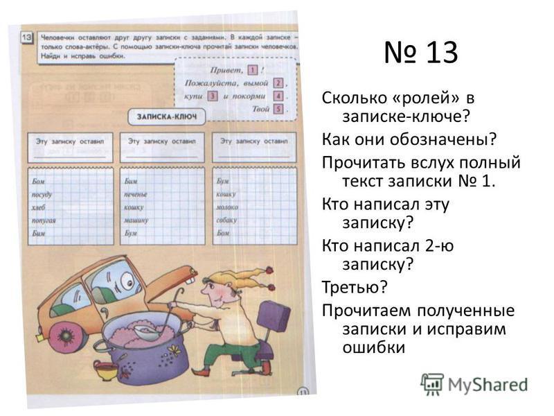 13 Сколько «ролей» в записке-ключе? Как они обозначены? Прочитать вслух полный текст записки 1. Кто написал эту записку? Кто написал 2-ю записку? Третью? Прочитаем полученные записки и исправим ошибки
