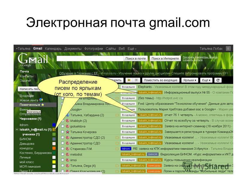 Электронная почта gmail.com Распределение писем по категориям Распределение писем по ярлыкам (от кого, по темам)