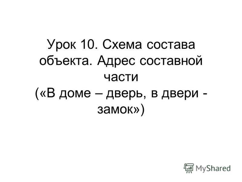 Урок 10. Схема состава объекта. Адрес составной части («В доме – дверь, в двери - замок»)
