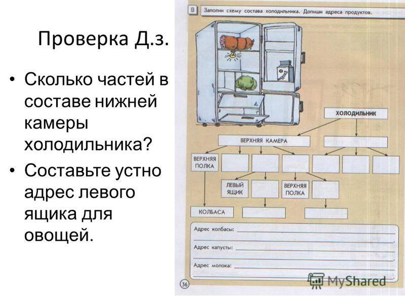Проверка Д.з. Сколько частей в составе нижней камеры холодильника? Составьте устно адрес левого ящика для овощей.