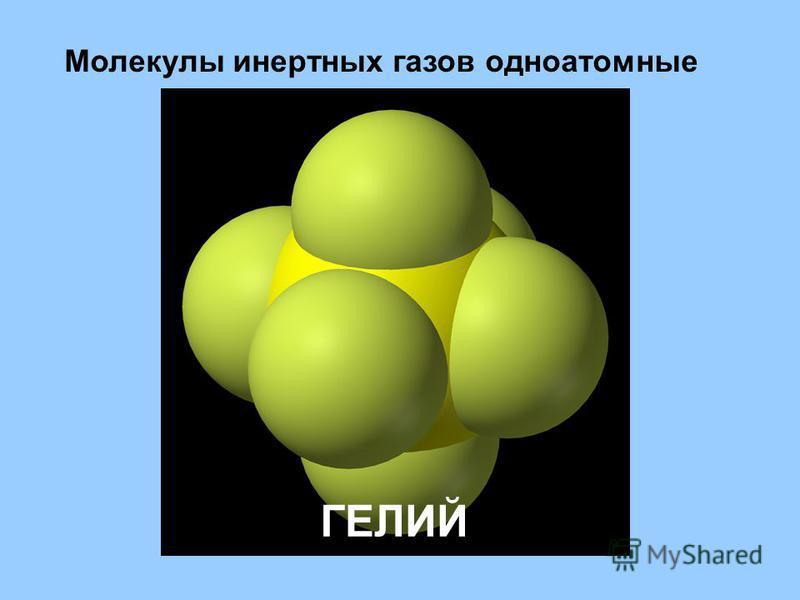 Молекулы инертных газов одноатомные ГЕЛИЙ