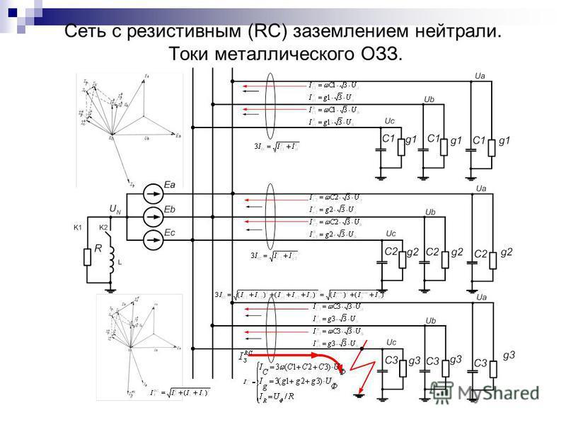 Сеть с резистивным (RC) заземлением нейтрали. Токи металлического ОЗЗ.