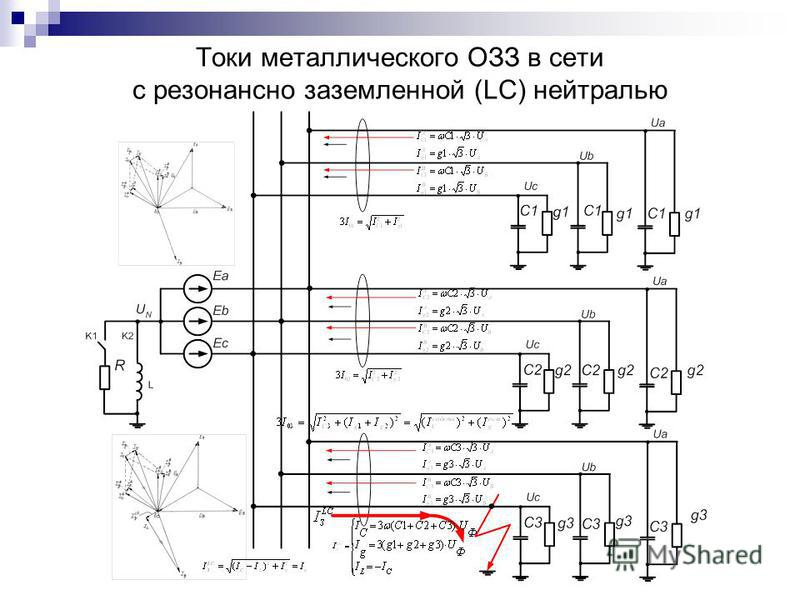 Токи металлического ОЗЗ в сети с резонансно заземленной (LC) нейтралью