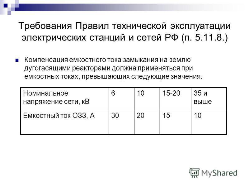 Требования Правил технической эксплуатации электрических станций и сетей РФ (п. 5.11.8.) Компенсация емкостного тока замыкания на землю дугогасящими реакторами должна применяться при емкостных токах, превышающих следующие значения : Номинальное напря