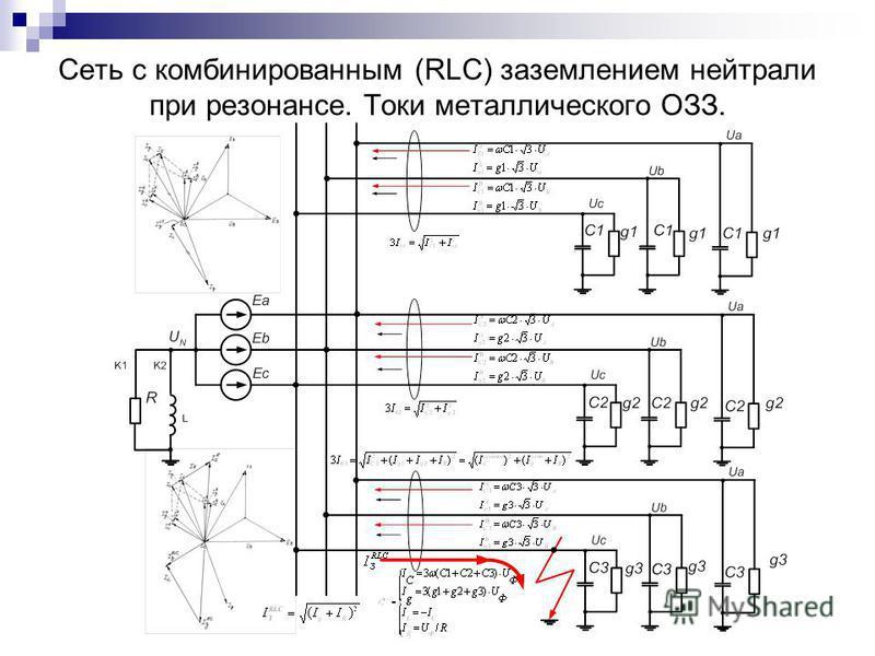 Сеть с комбинированным (RLC) заземлением нейтрали при резонансе. Токи металлического ОЗЗ.