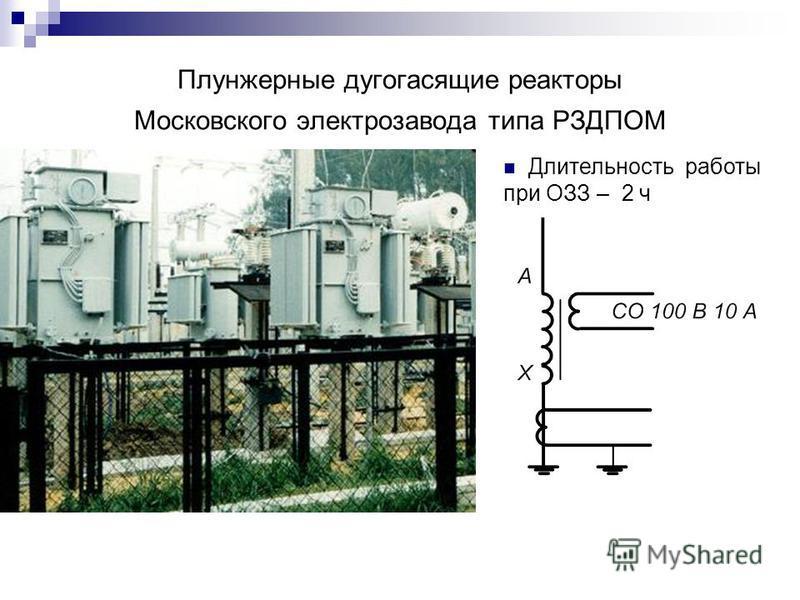 Плунжерные дугогасящие реакторы Московского электрозавода типа РЗДПОМ Длительность работы при ОЗЗ – 2 ч