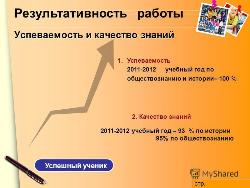 www.themegallery.com Успеваемость и качество знаний 2. Качество знаний 1. Успеваемость 2011-2012 учебный год по обществознанию и истории– 100 % Успешный ученик Результативность работы 2011-2012 учебный год – 93 % по истории 95% по обществознанию стр.