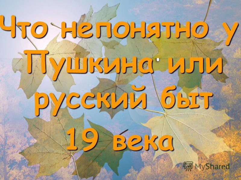 Что непонятно у Пушкина или русский быт 19 века