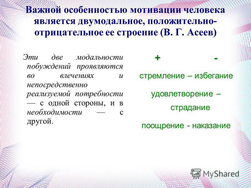Важной особенностью мотивации человека является двумодальное, положительно- отрицательное ее строение (В. Г. Асеев) Эти две модальности побуждений проявляются во влечениях и непосредственно реализуемой потребности с одной стороны, и в необходимости с