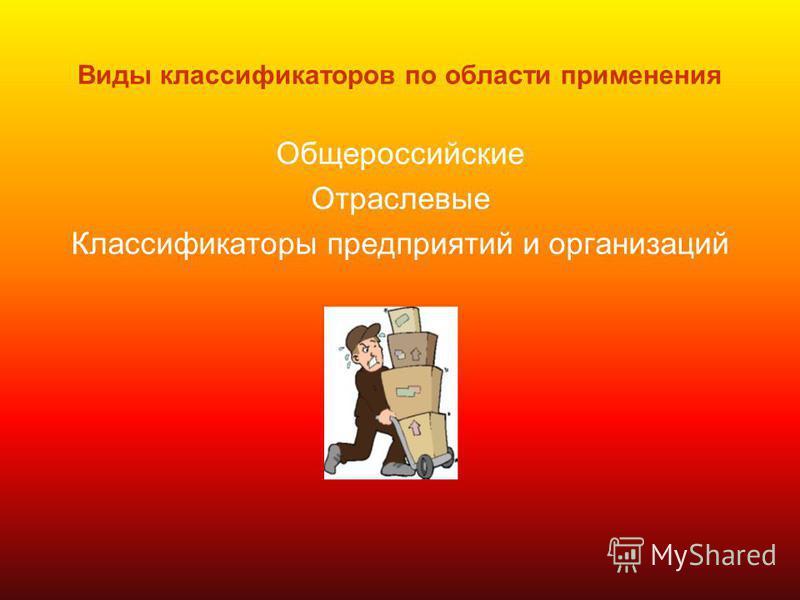 Виды классификаторов по области применения Общероссийские Отраслевые Классификаторы предприятий и организаций