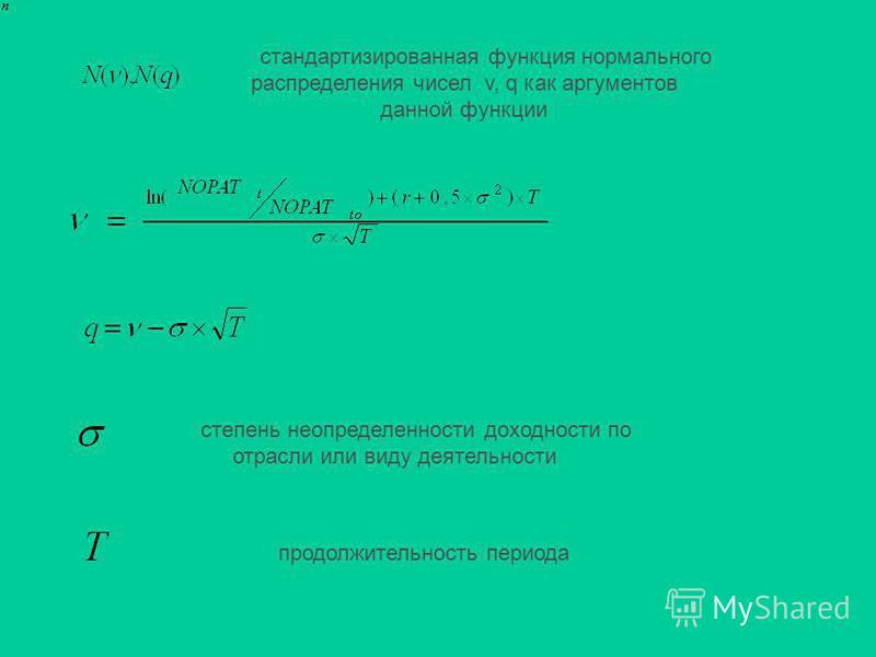стандартизированная функция нормального распределения чисел v, q как аргументов данной функции степень неопределенности доходности по отрасли или виду деятельности продолжительность периода