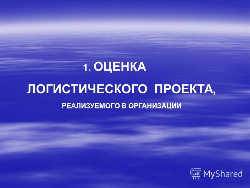 1. ОЦЕНКА ЛОГИСТИЧЕСКОГО ПРОЕКТА, РЕАЛИЗУЕМОГО В ОРГАНИЗАЦИИ