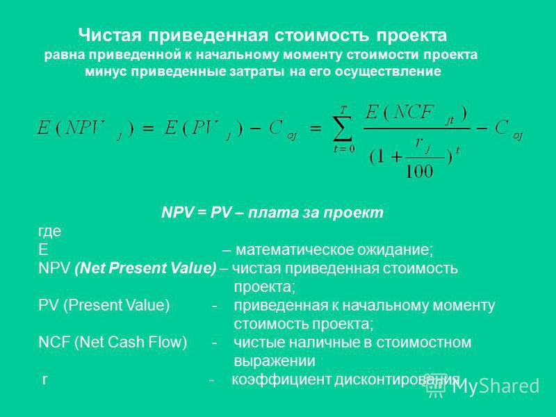 Чистая приведенная стоимость проекта равна приведенной к начальному моменту стоимости проекта минус приведенные затраты на его осуществление NPV = PV – плата за проект где Е – математическое ожидание; NPV (Net Present Value) – чистая приведенная стои