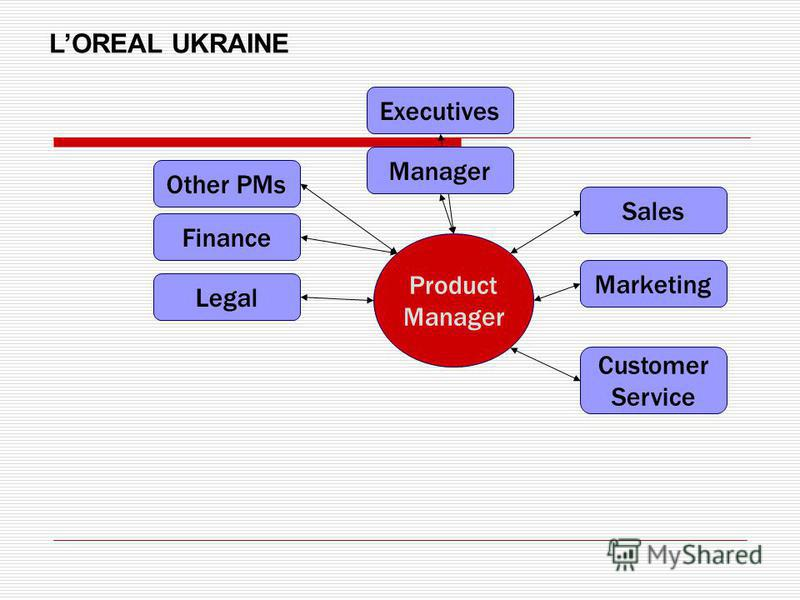 Product Manager Finance Legal Sales Marketing Manager Executives Other PMs Customer Service LOREAL UKRAINE