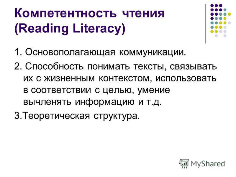 Компетентность чтения (Reading Literacy) 1. Основополагающая коммуникации. 2. Способность понимать тексты, связывать их с жизненным контекстом, использовать в соответствии с целью, умение вычленять информацию и т.д. 3. Теоретическая структура.