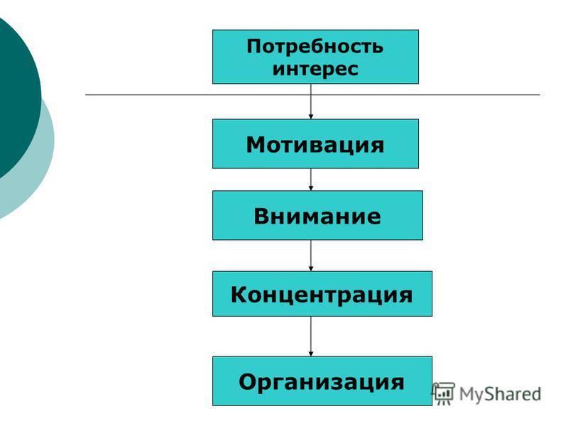 Потребность интерес Мотивация Внимание Концентрация Организация