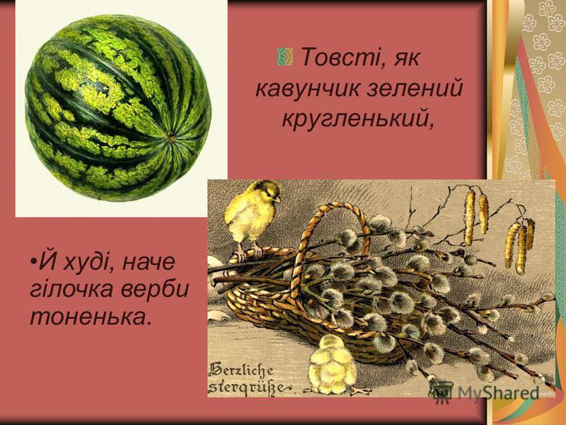 Товсті, як кавунчик зелений кругленький, Й худі, наче гілочка верби тоненька.