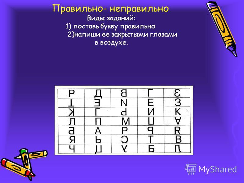 Правильно- неправильно Виды заданий: 1) поставь букву правильно 2)напиши ее закрытыми глазами в воздухе.