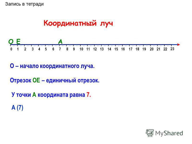 На рисунке вы видите только часть бесконечной шкалы. Можно сказать, что эта шкала нанесена на луч. Числа под точками луча называют координатами точек. Любое натуральное число является координатой некоторой точки этого луча. Луч будет называться коорд
