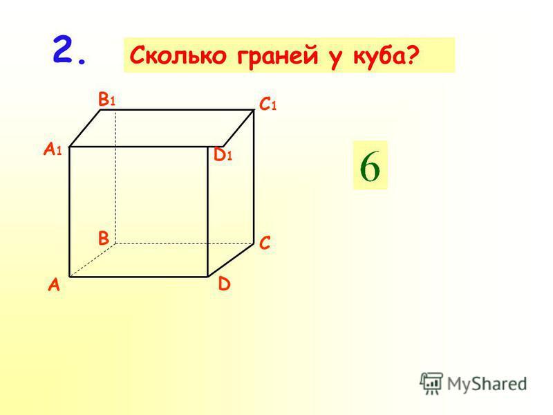 Сколько ребер у куба? 1. A D B C A1A1 D1D1 B1B1 C1C1
