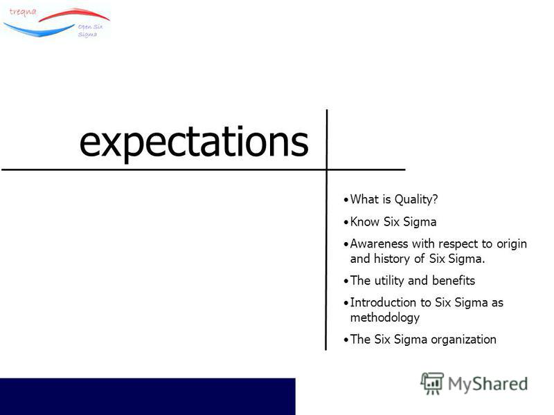 © All Rights Reserved TreQna 2005 expectations What is Quality? Know Six Sigma Awareness with respect to origin and history of Six Sigma. The utility and benefits Introduction to Six Sigma as methodology The Six Sigma organization