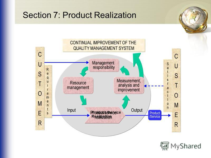 Product /Service Realization Section 7: Product Realization