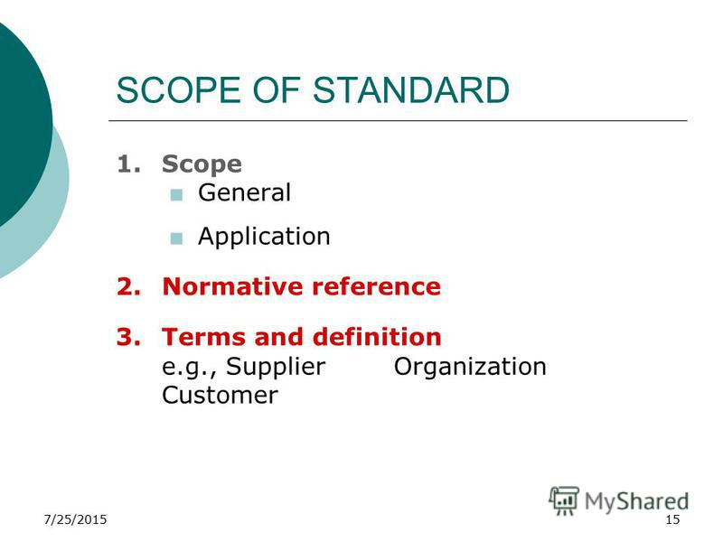 7/25/201515 SCOPE OF STANDARD 1.Scope +General +Application 2.Normative reference 3.Terms and definition e.g., Supplier Organization Customer