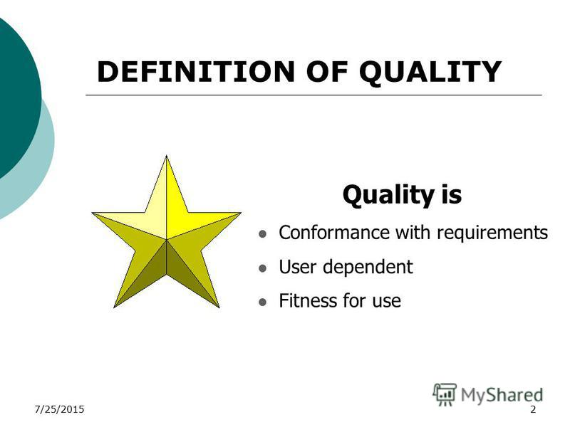 7/25/20152 Quality is Conformance with requirements User dependent Fitness for use DEFINITION OF QUALITY
