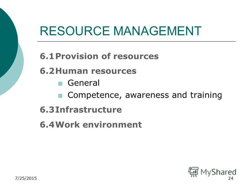 7/25/201524 RESOURCE MANAGEMENT 6.1Provision of resources 6.2Human resources +General +Competence, awareness and training 6.3Infrastructure 6.4Work environment