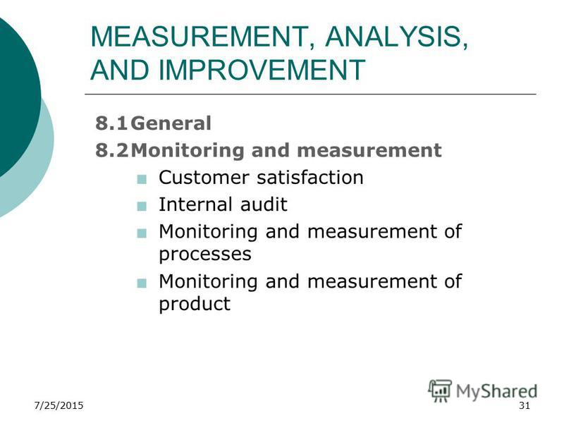 7/25/201531 MEASUREMENT, ANALYSIS, AND IMPROVEMENT 8.1General 8.2Monitoring and measurement +Customer satisfaction +Internal audit +Monitoring and measurement of processes +Monitoring and measurement of product