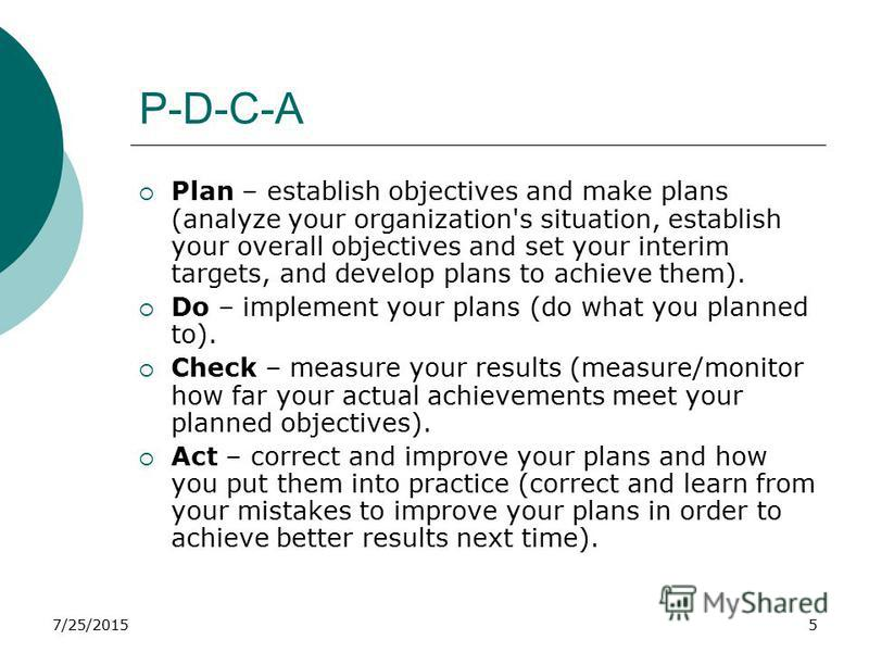 7/25/20155 P-D-C-A Plan – establish objectives and make plans (analyze your organization's situation, establish your overall objectives and set your interim targets, and develop plans to achieve them). Do – implement your plans (do what you planned t