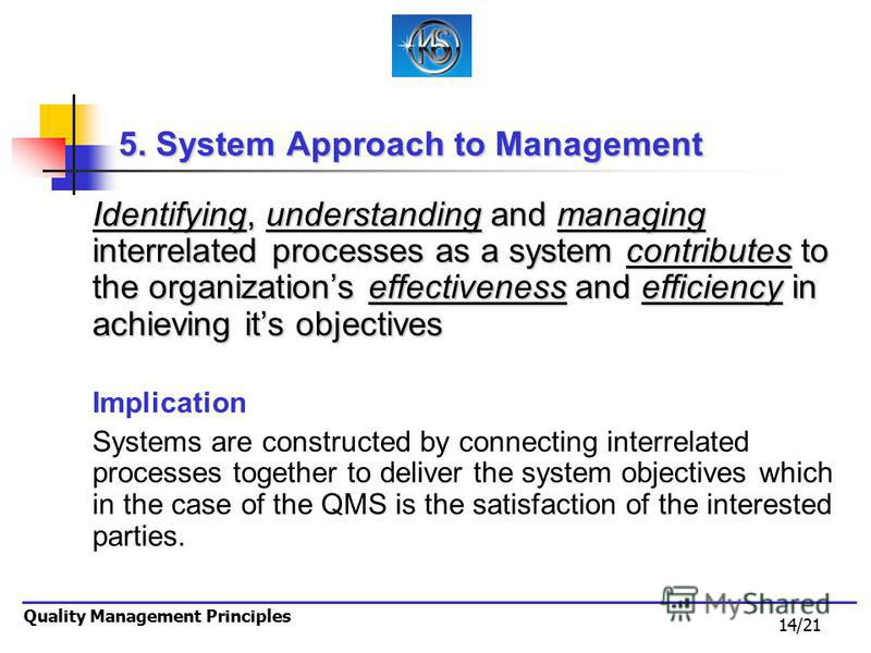 14/21 Quality Management Principles 5. System Approach to Management Identifying, understanding and managing interrelated processes as a system contributes to the organizations effectiveness and efficiency in achieving its objectives Implication Syst