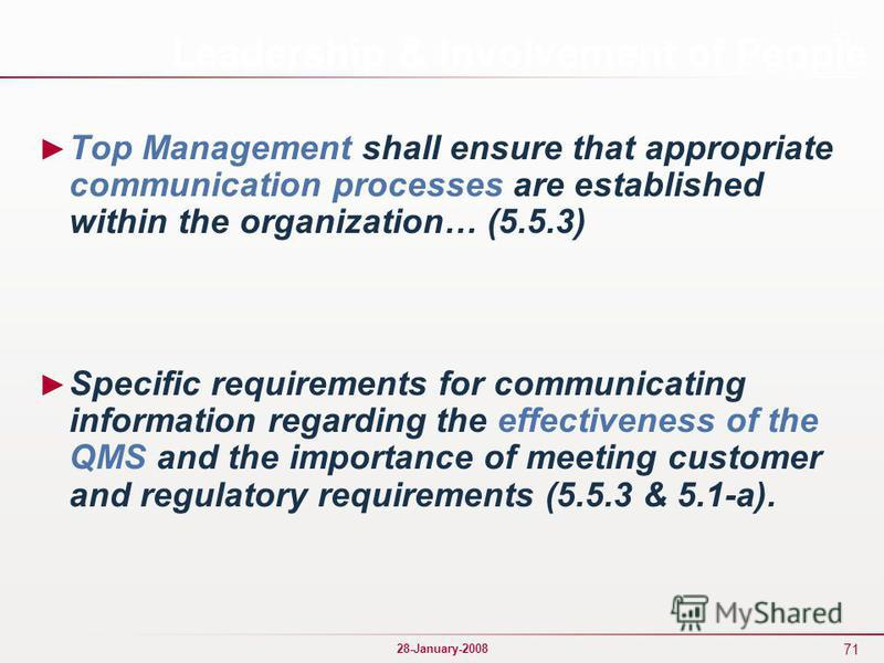 71 28-January-2008 Leadership & Involvement of People Top Management shall ensure that appropriate communication processes are established within the organization… (5.5.3) Specific requirements for communicating information regarding the effectivenes
