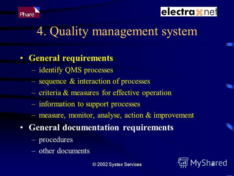 © 2002 Systex Services8 4. Quality management system General requirements –identify QMS processes –sequence & interaction of processes –criteria & measures for effective operation –information to support processes –measure, monitor, analyse, action &